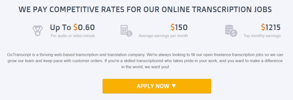 GoTranscript.com Income Potential