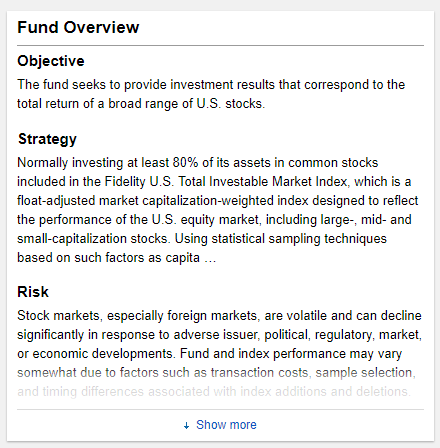 Example of a mutual fund overview and objective.